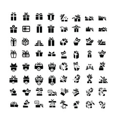 set black gift box icons set 64 item vector image vector image