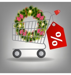 Shopping cart and christmas wreath vector image