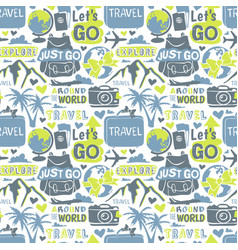 travel motivation badge seamless patterns vector image