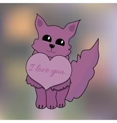 Valentine Cat with Heart on Blur Background for a vector image vector image