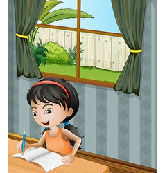 A girl with a headband writing vector