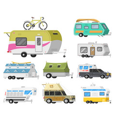 a set of trailers or family rv camping caravan vector image