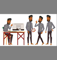 arab man office worker business set vector image