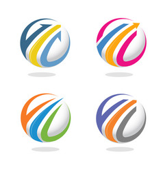 Arrow finance circle icon vector