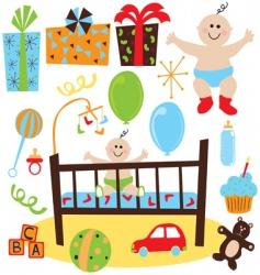 Baby boy retro birthday party vector