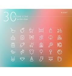Baoutline icons set vector