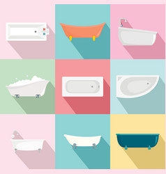 bathtub interior icons set flat style vector image