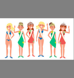 Beauty pageant woman on beauty pageant vector