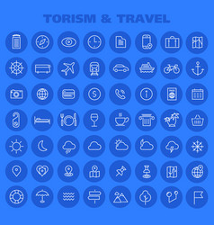 Big tourism icon set trendy line icons collection vector