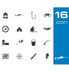 Black Hunting Icons Set on white background vector image