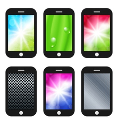 black mobile phone with different wallpapers vector image