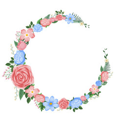 border design with pink and blue flowers vector image