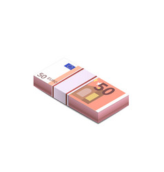 bright fifty euro banknotes in stack in isometric vector image