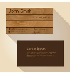 brown wood simple business card design eps10 vector image