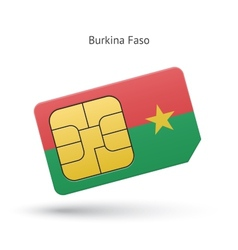 Burkina Faso mobile phone sim card with flag vector image