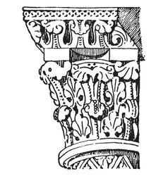 Capital apophyge vintage engraving vector