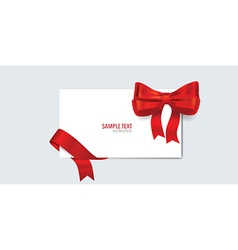 Cards with gift bow and shiny red ribbon vector image