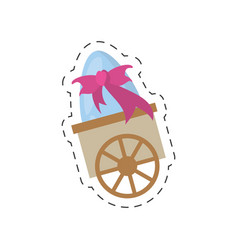 Cart with easter egg bow - cut line vector