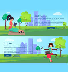 Central city park banners with people and gadgets vector