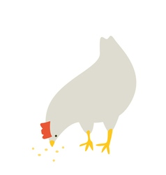 Chicken eating something vector