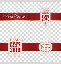 christmas festive banners with red ribbons vector image