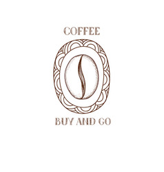 coffee bean icon hand drawn doodle sketch symbol vector image