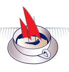 coffee mug and sail boat vector image