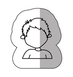 contour sticker boy icon vector image