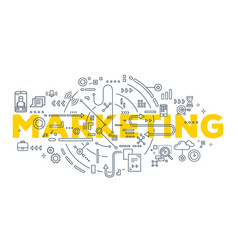 creative of marketing word lettering vector image