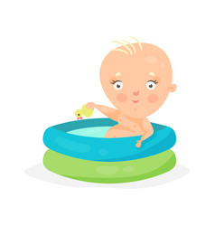 cute cartoon baby swimming in kids inflatable pool vector image