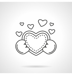 Cute heart with hands flat line icon vector image