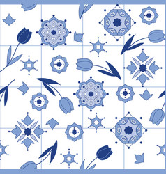 delftware decorative seamless pattern with tulips vector image
