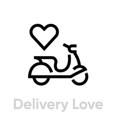 delivery love bike icon editable line vector image