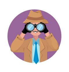 detective looking through binocular vector image
