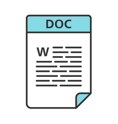 Doc file color icon word processing document text vector