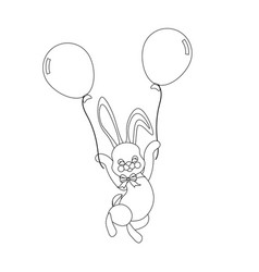 easter bunny with balloons outline vector image