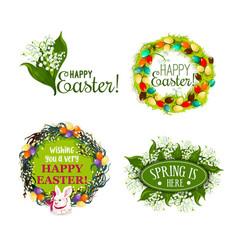 Easter spring holiday cartoon badge set design vector