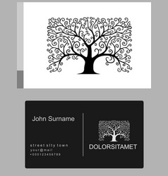 emblem old tree icon vector image