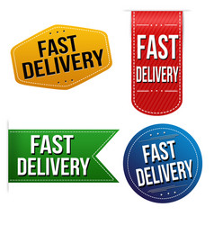fast delivery sticker or label set vector image