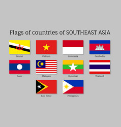 flat flags of aec members vector image
