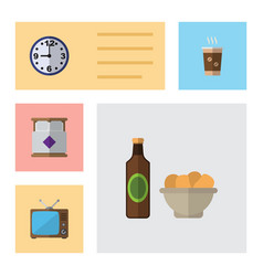 Flat icon life set of watch mattress beer with vector