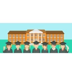 Flat style kids graduation and school building vector