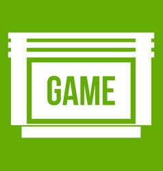 Game cartridge icon green vector