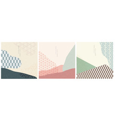 geometric background with japanese wave pattern vector image
