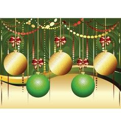 Gold and Green Xmas Balls2 vector image