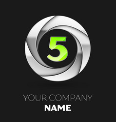 green number five logo symbol in the silver circle vector image