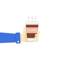 Hand holding disposable coffee vector