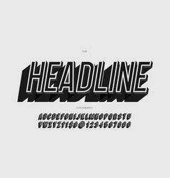headline alphabet slanted style vector image