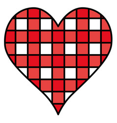 Heart love with grid vector