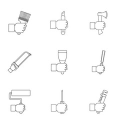 house repair tool icon set outline style vector image
